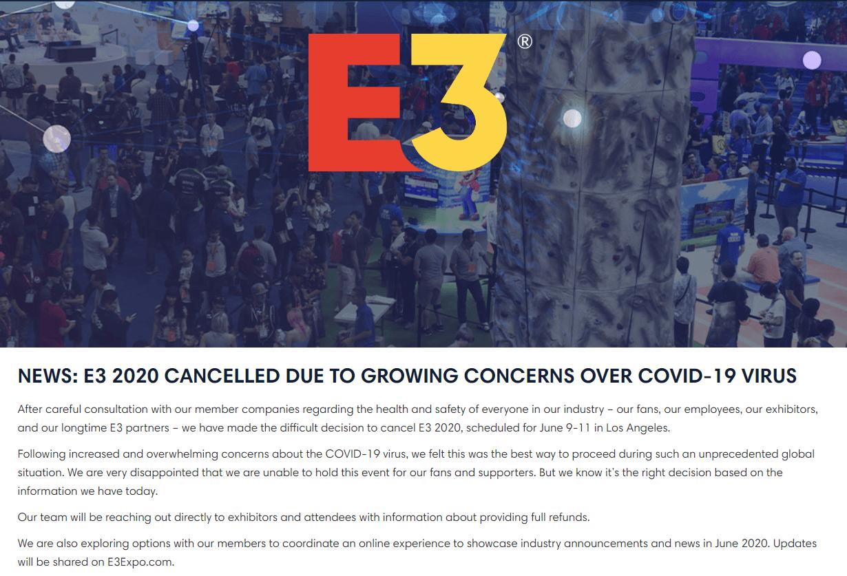 Cancelan el E3 2020 debido al Coronavirus